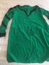 Jay Godfrey Dress Emerald Bright Green Black Striped Cinch Waist Long Sleeve