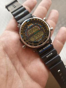 """Vintage CASIO DW-401 """"SKYWALKER"""" Timecop / TACHY METER Watch with original belt"""