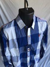 Men's Fredd Marshall Long Sleeve Button Front NWT Sz XL Blue Plaid Shirt