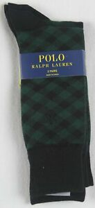 Polo Ralph Lauren 2 Pairs Dress Socks Green Black Plaid NWT
