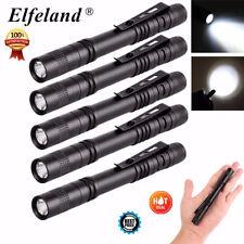 Elfeland 5Pcs 8000LM Mini R3 LED Penlight Flashlight Torch Lamp Light Clip AAA