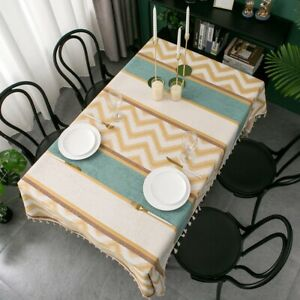 Vintage Tablecloth Jacquard Tassel Dinning Table Cloth Cover Party Home Decor
