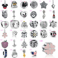 European CZ Fashion Silver Charms Beads Pendant Fit 925 Sterling Bracelet Chain