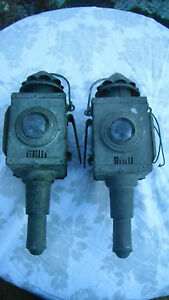 pair of Antique bulls eye carriage lamps