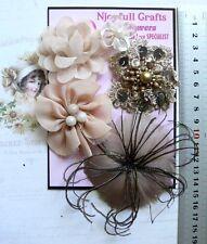 LATTE BROWN BLACK COFFEE Feather Fabric Organza Lace Satin 5Flower Pk 30-80mm B3