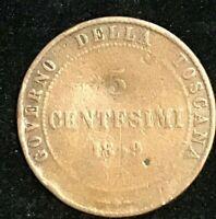 1859 Tuscany 5 CENTESIMI COIN Governo Della Toscana Circulated.