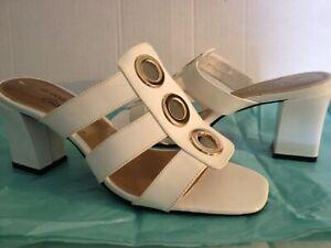 Ak Anne Klein iFlex Slip-on High Heel White Sandals Slides Pump Heeled Size 7 M