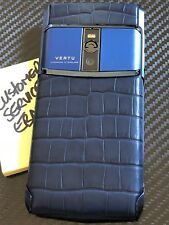 "Brand NEW Genuine Vertu Signature Touch 5.2"" Pure Navy Alligator Super RARE"