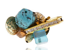 Bold Loud Crystal Rhinestone Turquoise Stone Cluster Gold Tone Fashion Ring