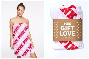 VICTORIA'S SECRET PINK RED WHITE WRAP BATH SPA BEACH TOWEL GIFT LOVE PLUSH NEW
