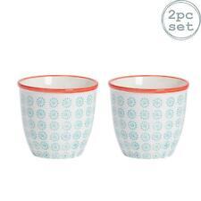 Flower Plant Pot Ceramic Porcelain Indoor Garden - Turquoise / Red Swirl - x2