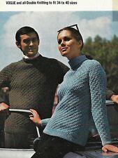 """1729  Ladies Mens DK Texture Sweaters  34-40""""  Vintage Knitting Pattern"""