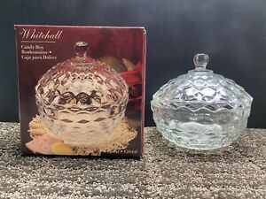 Indiana Crystal Clear Glass Whitehall Pattern Candy Dish with Lid