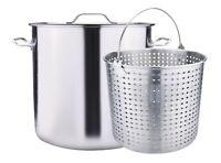Outdoor Stainless Steel Seafood Stock Pot w/Basket Crawfish Boil Pot