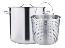 Outdoor Stainless Steel Seafood Stock Pot w/Basket Crawfish Boil Pot
