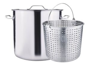 100QT Large Outdoor Stainless Steel Seafood Stock Pot W/Basket Crawfish Boil Pot