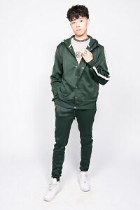 JYO Mens Bottle Green Tape Stripe Skinny Fit Tracksuit (TS2476)
