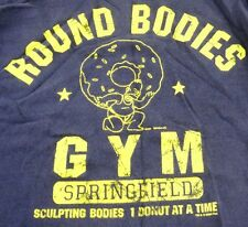 GET PLUMPED UP 1 Donut at a Time L/S Navy Size M Round Bodies Gym The Simpsons