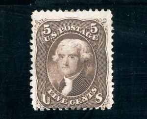 USAstamps Unused VF US 1863 Jefferson Scott 76 OG MLH + Certificate