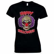 Halloween Costumes Women Scary Horror T-Shirt Clown Face