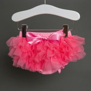 Baby Girl Bloomers Nappy Cover Chiffon Frill Bow Mini Pettiskirt Age 0 - 1 Years