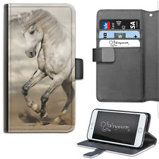 Grey And White Horse Pony On Sand PU Leather Wallet Phone Case, Flip Case/Cover