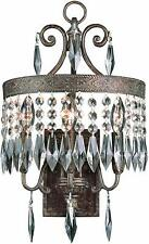 Dark Bronze Gold Crowned Crystal 3-Light Wall Sconce Orig $447