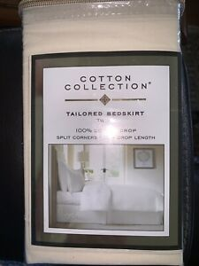 TWIN Bedskirt. Ivory. 100% Cotton. 39x75 In. Cotton Collection. NEW