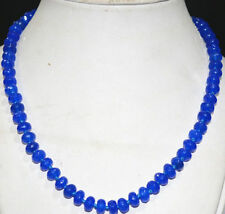 """5x8mm Faceted Blue Sapphire Abacus Gemstone Necklace 18 """"AAA+HL"""