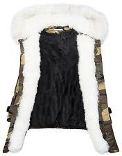 Womens Winter Parka Jacket Army Camo-Look Faux Fur Collar Hood Warm 36 38 40