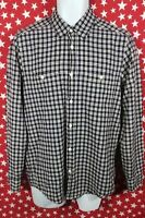 Men's H&M L.O.G.G. Relaxed Long Sleeve Plaid Blue White Shirt Size Small