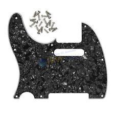 Standard Left Hand Pickguard 4Ply Black Pearl & Screws For Fender Tele Guitar