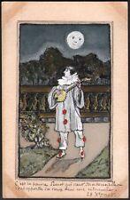 Carte dessinée. Pierrot  Aquarelle originale. 1905