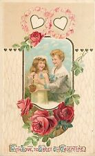 With Love to Greet My Valentine's Day Children Sweethearts Young Love Postcard