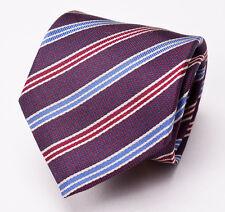 New $150 CORNELIANI Burgundy-Sky Blue Woven Ribbon Stripe Silk Tie Italy