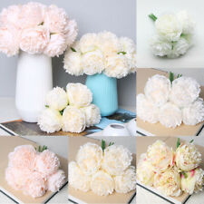 5 Head Artificial Peony Bouquet Silk Fake Flowers Leaf Wedding Party Home Decor