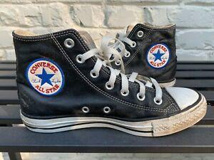 Converse All Star Chuck Taylor High Top Black Leather Men's Sz. 5, Wom's Sz. 7