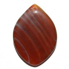 P2240f Red Agate Gemstone 44x31mm Flat Marquise Focal Pendant Bead 1pc