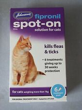 Johnson's fipronil Spot-on para gatos (3 Vial) hasta 15 semanas Protección