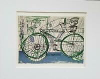 "Friedensreich Hundertwasser ""Cyclist In The Rain"" Matted Offset Lithograph 1986"