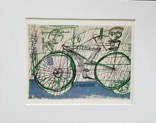 """Friedensreich Hundertwasser """"Cyclist In The Rain"""" Matted Offset Lithograph 1986"""