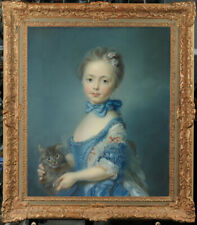 "Old Master-Art Antique portrait oil Painting Small girl Cat on canvas  20""x24"""
