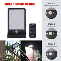 48LED Solar Power Street Light PIR Motion Sensor Outdoor Garden Wall Lamp+Remote