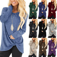 Womens Autumn Long Sleeve Pure Casual T shirt Ladies Loose Tops Blouse Bottom