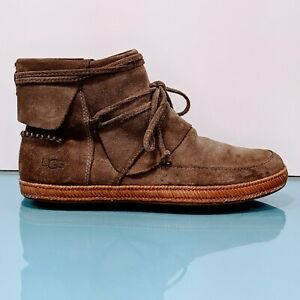 UGG Reid Moccasin Womens Size 7 Brown Nubuck Suede Leather Ankle Booties Boots