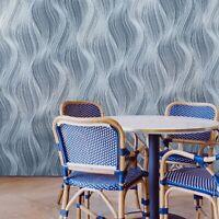 Textured modern wallpaper navy blue silver glitter wavy lines 3D waves textures