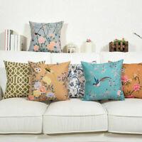 Art Flowers Cotton Linen Pillow Case Waist Cushion Cover Home Decor 18inch