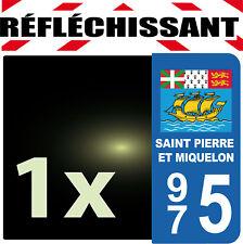 DEPARTEMENT 975 réfléchissant Plaque Auto 1autocollant reflectif  SAINT PIERRE