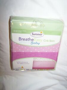 Summer Breathe Easy Crib Skirt; Fits Standard Mattress; Pink; New in Package