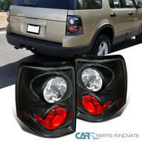 For 02-05 Ford Explorer 4Dr Matte Black Parking Tail Lights Rear Brake Lamp Pair